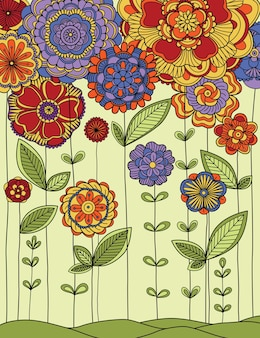 Illustration of the meadow with flowers