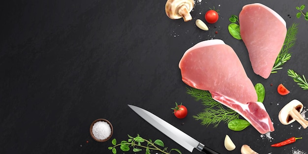 Illustration of meat and vegetables on black table