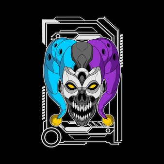 Illustration of mecha evil clown head
