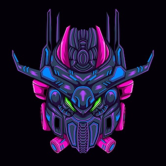 Illustration mecha mask, can be used for t-shirt or logo template