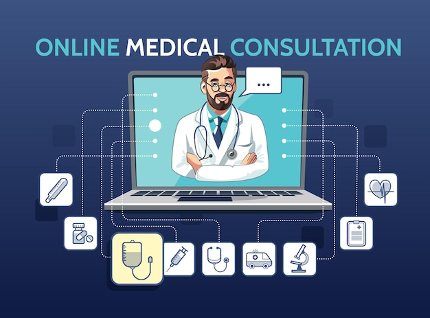 Illustration of medical online consultation with doctor using laptop. app concept with icons