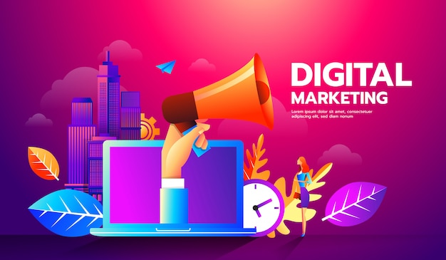 Illustration of megaphone and different icons for digital marketing concept.