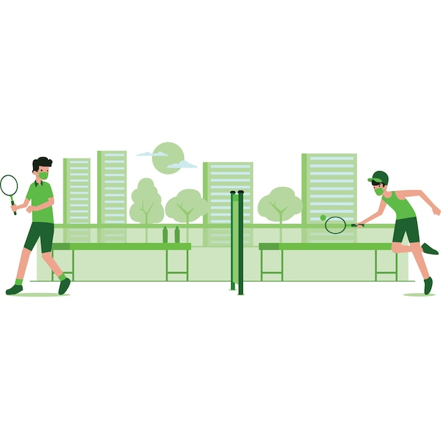 Illustration of men playing on tennis court