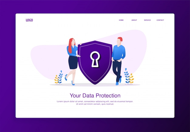 Illustration of men and women introduced shield security. modern flat design concept, landing page template.