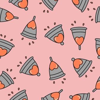 Illustration menstrual cup. menstrual period. seamless pattern.
