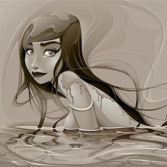 Illustration of a mermaid, sepia