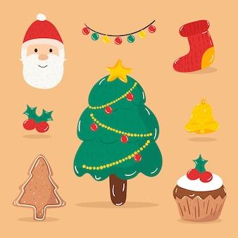 Illustration merry christmas happy christmas companions icon christmas