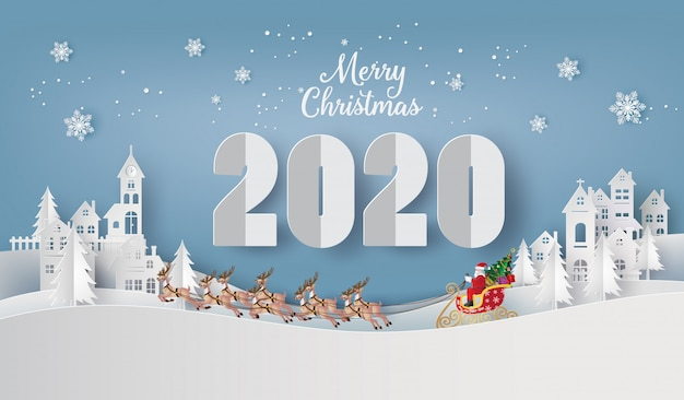 Illustration of  merry christmas and happy new year