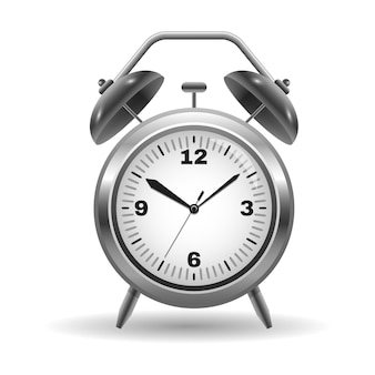 Illustration of a metal alarm clock isolated