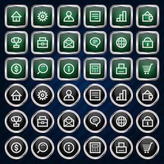 Illustration metal icons set business finance, format eps 10