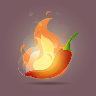 Illustration mexican chili with a fireball on dark pink background