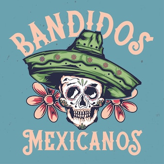 Illustration of mexican skull in hat with lettering