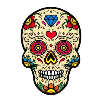 Illustration of mexican sugar skull  on white background.  element for poster, card, t shirt.  image