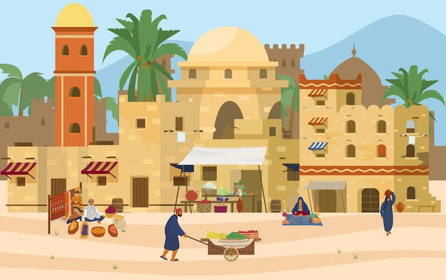 Illustration of middle eastern scene. arabic ancient city with traditional mud brick houses and people.