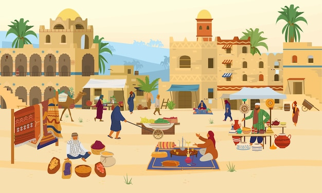 Illustration of middle eastern scene.