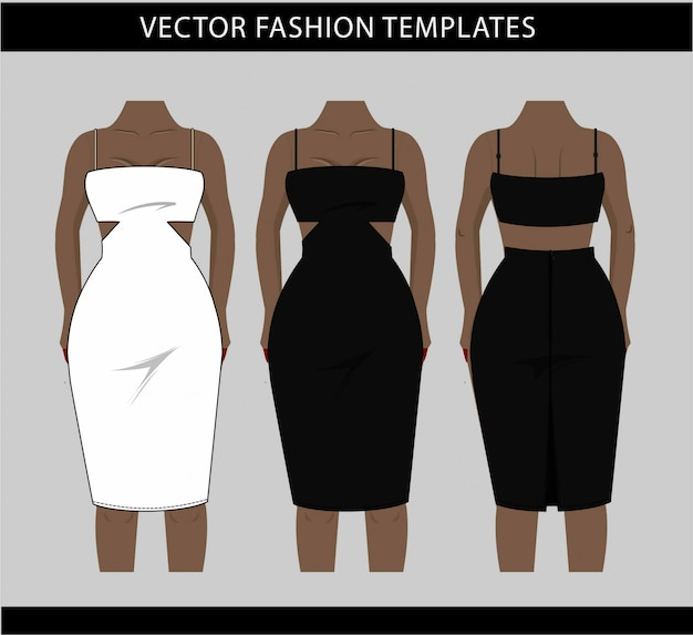 Illustration of midi dress front and back,  fashion flat sketch template