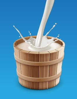 Illustration of milk pouring with splash into wooden pail on blue background