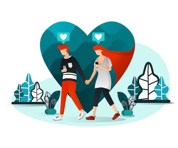 Illustration of millennial love story
