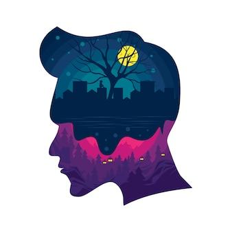 Illustration of mind on man head silhouette