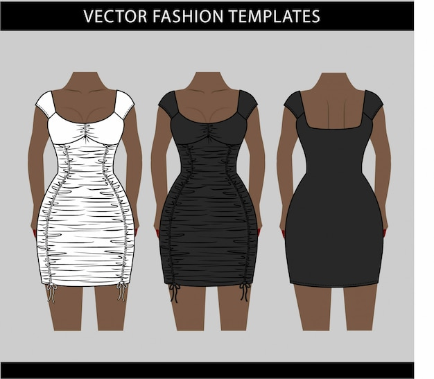 Illustration of mini dress, fashion flat sketch template, ruched mini dress front and back