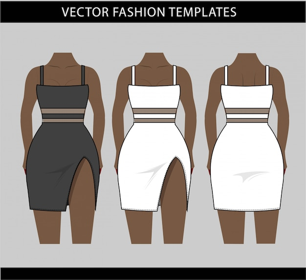 Illustration of mini dress front and back, fashion sketch