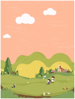 Illustration of minimal spring summer in green and earth tone .the cute small village with kids playing outside with head hog,butterfly and bunny.postcard of people in spring .
