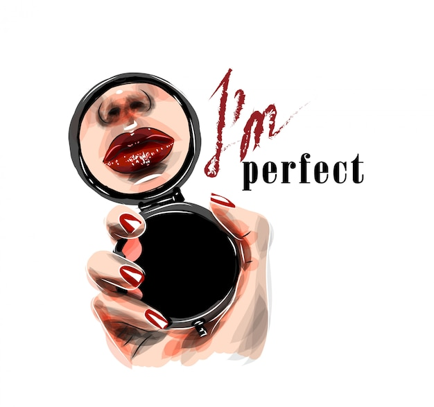 Illustration. mirror in a woman's hand with reflection of her lips. i'm perfect text