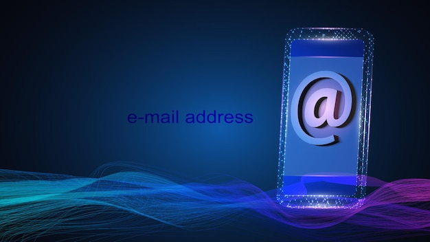 Illustration of a mobile phone with email address symbol.