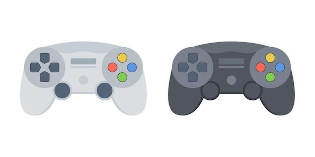 現代のワイヤレスゲームコントローラーのイラストモックアップセット。黒と白のゲームパッド。ベクター。