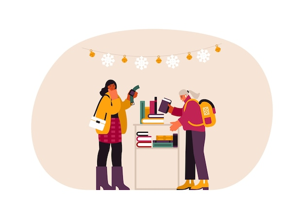 Illustration of modern  females selecting watch and book from shelf while buying gifts in store during christmas preparation