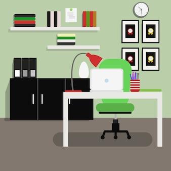 Illustration of modern home office interior in flat design