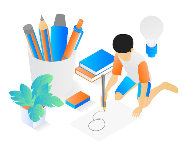 Illustration of modern isometric style about a children drawing on paper