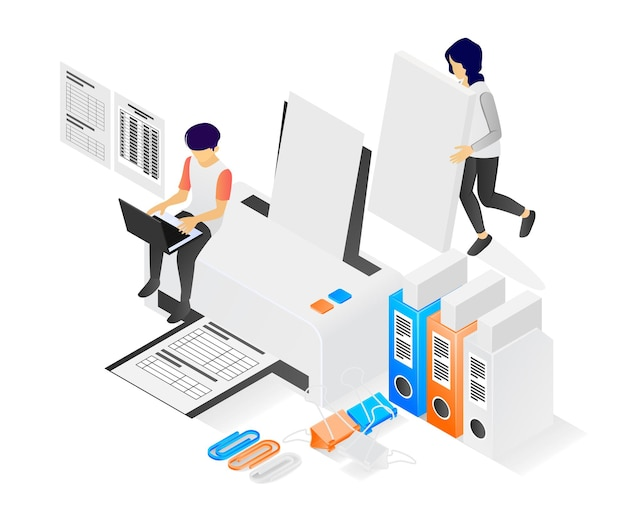 Illustration of modern isometric style about a printing worker