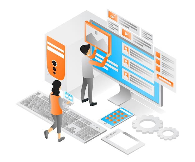 Illustration of modern isometric style about ui design and app computer