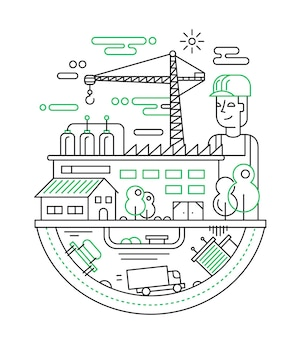 Illustration of  modern line   city composition with people, factory and construction buildings and other infographics elements