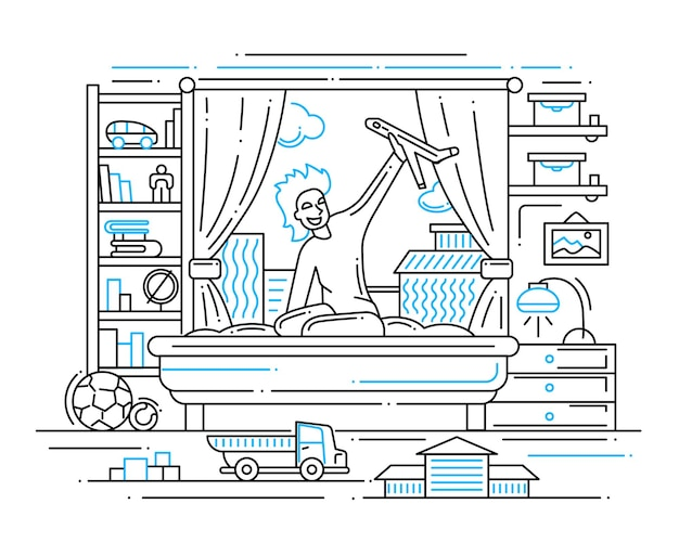 Illustration of  modern line   composition and infographics elements with a boy playing in his room