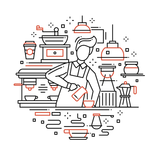 Illustration of  modern line   composition with male barista making and serving cofee at the cafe counter