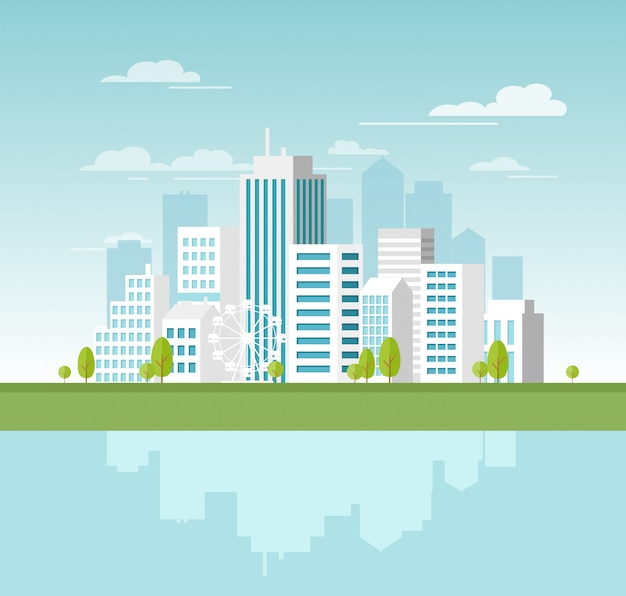 Illustration of modern urban landscape with white skyscrapers and big buildings. concept website template for banner  in  style.