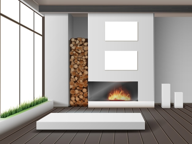 Illustration of modern white living room with fireplace in eco-minimalist style