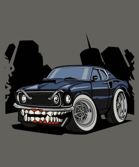 Illustration monster muscle car character cartoon