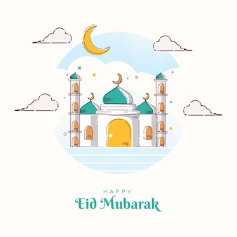 Illustration mosque eid mubarak line art template greeting card and background ramadan kareem