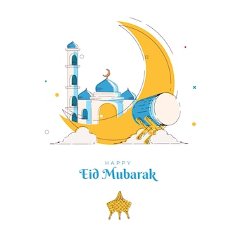 Illustration mosque eid mubarak line art template greeting card and background ramadan kareem