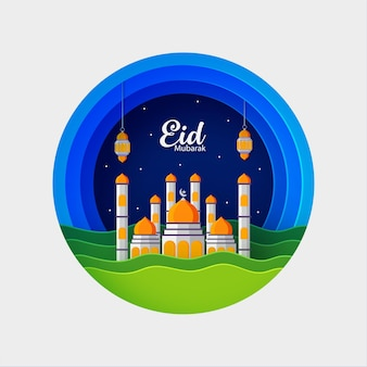 Illustration of mosque for eid mubarak premium vector
