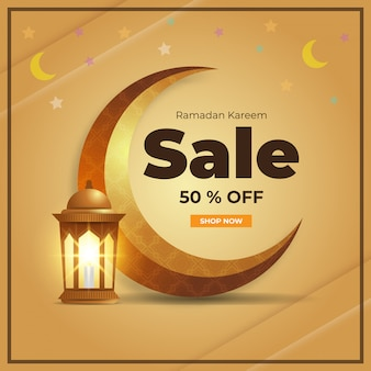 Illustration of mosque, moon, star and lantern background. with sale 50% off.