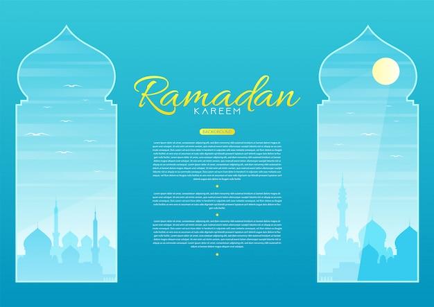 Illustration of mosque silhouette in the arabic window. ramadan kareem concept