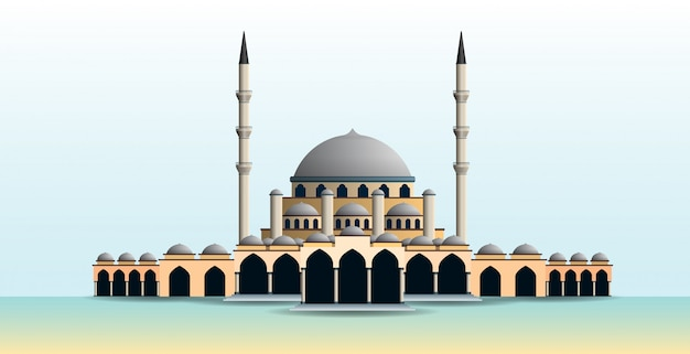 Illustration of mosque with many domes and minarets