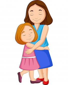 Illustration of mother and daughter hugging