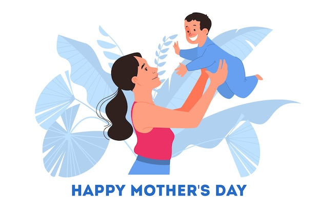 Illustration for mother day. happy mom hold a baby, enjoy motherhood.