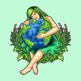 Illustration of mother earth day