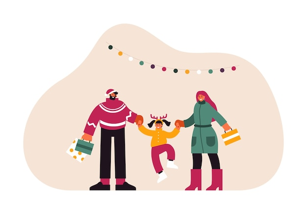 Illustration of mother and father with paper bags holding hands and swinging happy daughter while preparing for christmas celebration